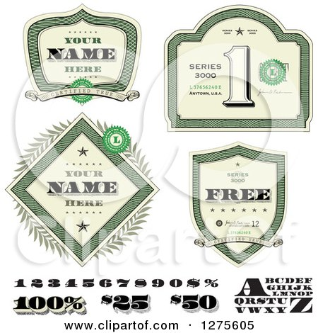 Clipart of Money Shields and Design Elements - Royalty Free Vector Illustration by BestVector