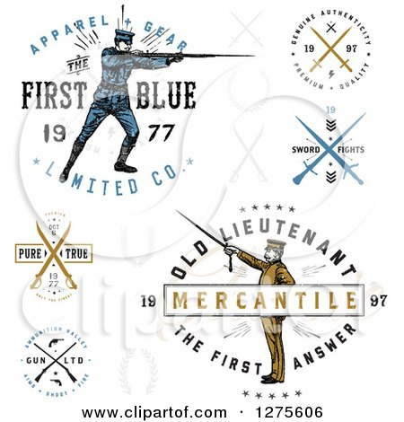 Clipart of Vintage Apparel Labels with Guns, Swords and Soldiers - Royalty Free Vector Illustration by BestVector