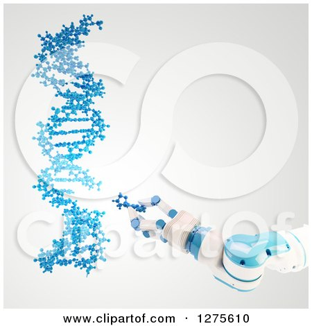 Clipart of a 3d Blue and White Robotic Arm Manipulating a Dna Strand - Royalty Free Illustration by Mopic