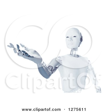 Clipart of a 3d Futuristic Android Robot Holding out a Hand, over White - Royalty Free Illustration by Mopic