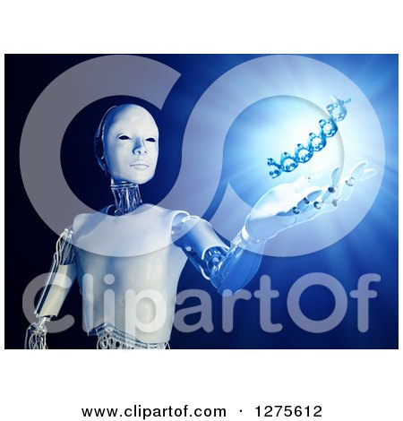 Clipart of a 3d Android Robot Holding out a Hand Under a Floating DNA Strand with Shining Blue Light - Royalty Free Illustration by Mopic