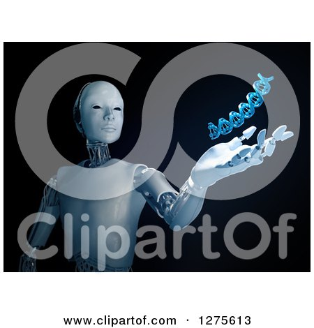 Clipart of a 3d Android Robot Holding out a Hand Under a Floating DNA Strand on Black - Royalty Free Illustration by Mopic