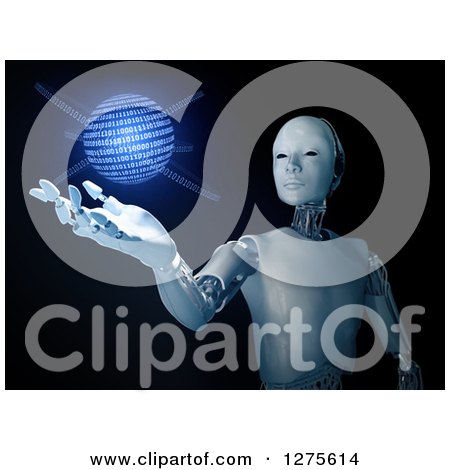 Clipart of a 3d Android Robot Holding out a Hand Under a Glowing Blue Binary Code Globe, on Black - Royalty Free Illustration by Mopic