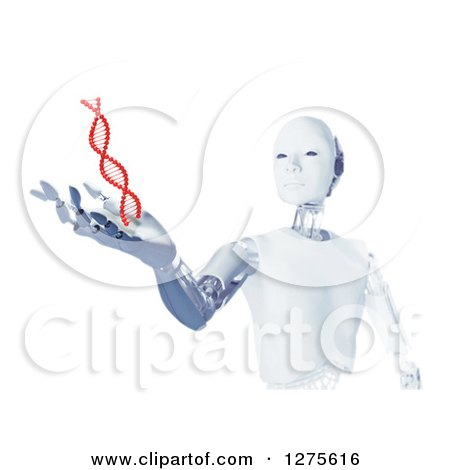 Clipart of a 3d Android Robot Holding out a Hand Under a Floating Red DNA Strand on White - Royalty Free Illustration by Mopic