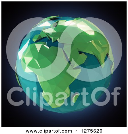 Clipart of a 3d Poly Earth Featuring Africa on Black - Royalty Free Illustration by Mopic