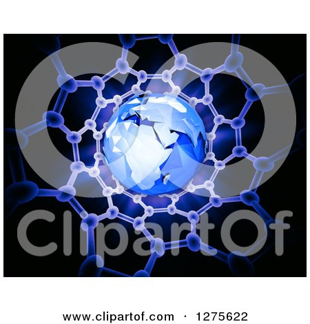 Clipart of a 3d Blue Earth in a Carbon Nanotube Structure on Black - Royalty Free Illustration by Mopic