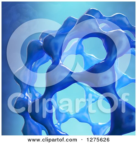 Clipart of a 3d Fullerene Molecule on Blue - Royalty Free Illustration by Mopic