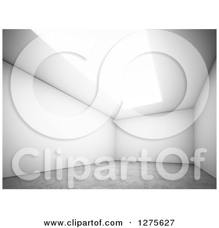 Clipart of a 3d Angled View of an Empty Room Interior with a Skylight or Ceiling Light and Concrete Floor - Royalty Free Illustration by Mopic