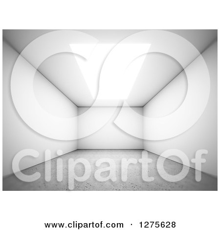 Clipart of a 3d Empty Room Interior with a Skylight or Ceiling Light and Concrete Floor - Royalty Free Illustration by Mopic