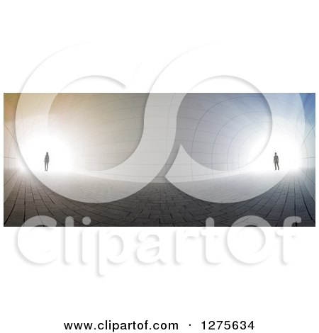 Clipart of a 3d Silhouetted Couple Standing at Opposite Ends of a Curved Tunnel, with Bright Light - Royalty Free Illustration by Mopic