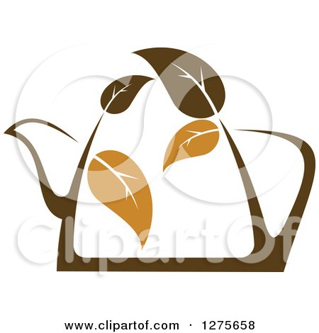 Clipart of a Leafy Brown Tea Pot 6 - Royalty Free Vector Illustration by Vector Tradition SM