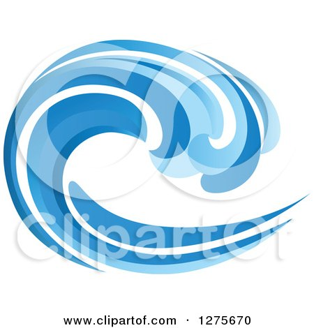 Clipart of a Blue Splashing Ocean Surf Wave 7 - Royalty Free Vector Illustration by Vector Tradition SM