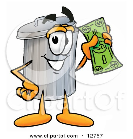 Clipart Picture of a Garbage Can Mascot Cartoon Character Holding a Dollar Bill by Toons4Biz