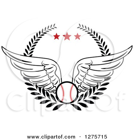 Clipart of a Winged Baseball in a Wreath with Red Stars - Royalty Free Vector Illustration by Vector Tradition SM