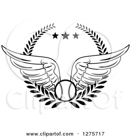 Clipart of a Black and White Winged Baseball in a Wreath with Stars - Royalty Free Vector Illustration by Vector Tradition SM