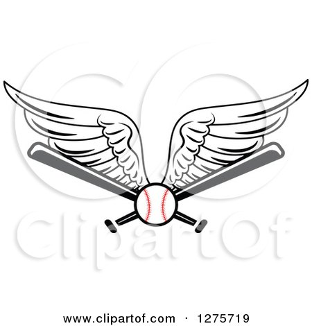 Clipart of a Winged Baseball and Bats - Royalty Free Vector Illustration by Vector Tradition SM