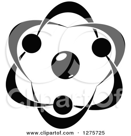 Clipart of a Black and White Atom 29 - Royalty Free Vector Illustration by Vector Tradition SM