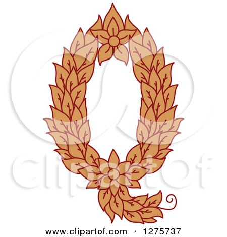 Clipart of a Floral Capital Letter Q with a Flower - Royalty Free Vector Illustration by Vector Tradition SM