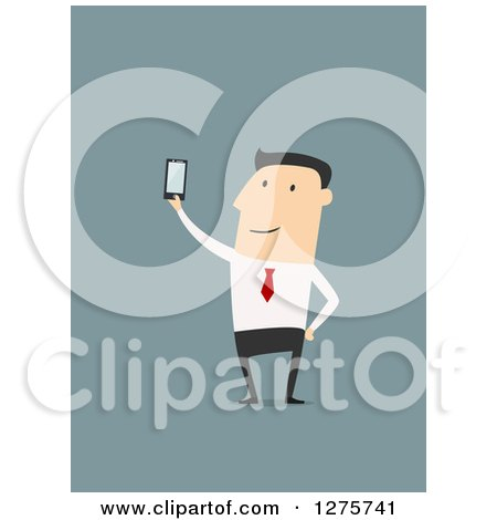 Clipart of a White Businessman Holding up a Smart Phone over Blue - Royalty Free Vector Illustration by Vector Tradition SM