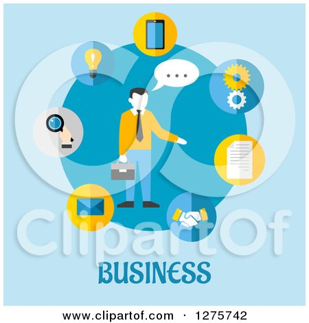 Clipart of a Businessman in a Circle of App Icons on Blue - Royalty Free Vector Illustration by Vector Tradition SM