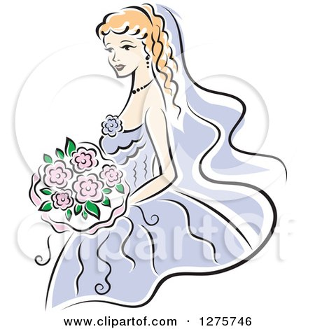 Clipart of a Blond Bride in a Periwinkle Dress, with Pink Flowers - Royalty Free Vector Illustration by Vector Tradition SM