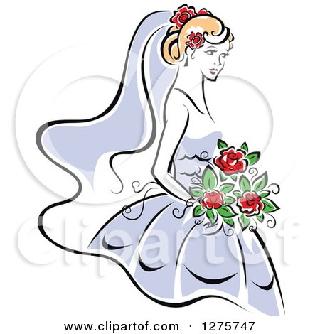 Clipart of a Blond Bride in a Periwinkle Dress, with Red Flowers - Royalty Free Vector Illustration by Vector Tradition SM