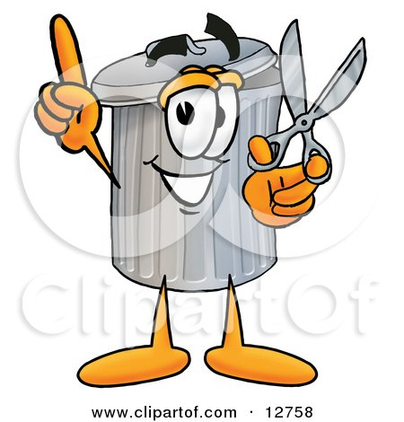 Clipart Picture of a Garbage Can Mascot Cartoon Character Holding a Pair of Scissors by Toons4Biz