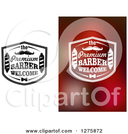 the Premium Barber Welcome Signs with Poles and Mustaches Posters, Art Prints
