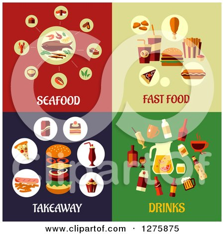 Clipart of Seafood, Fast Food, Takeaway and Drinks Designs - Royalty Free Vector Illustration by Vector Tradition SM