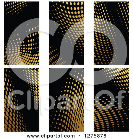 Clipart of Gold Halftone Business Card Designs on Black 3 - Royalty Free Vector Illustration by Vector Tradition SM