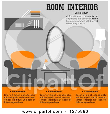 Clipart of a Gray and Orange Living Room Interior with Text - Royalty Free Vector Illustration by Vector Tradition SM