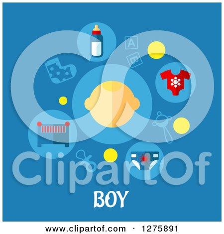 Clipart of a Face with Baby Icons over Boy Text on Blue - Royalty Free Vector Illustration by Vector Tradition SM
