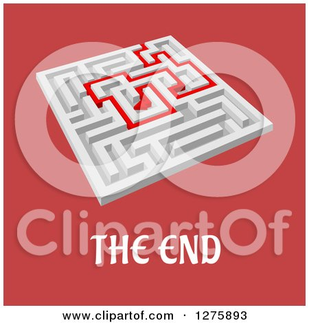 Clipart of a 3d White Maze with a Red Arrow Leading Through over Red and the End Text - Royalty Free Vector Illustration by Vector Tradition SM