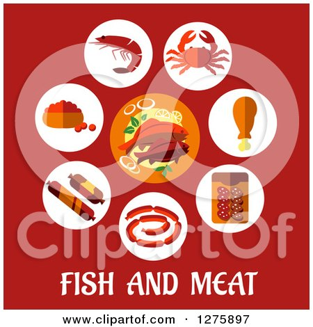 Clipart of a Plate of Sea Food in a Circle of Icons over Fish and Meat Text on Red - Royalty Free Vector Illustration by Vector Tradition SM