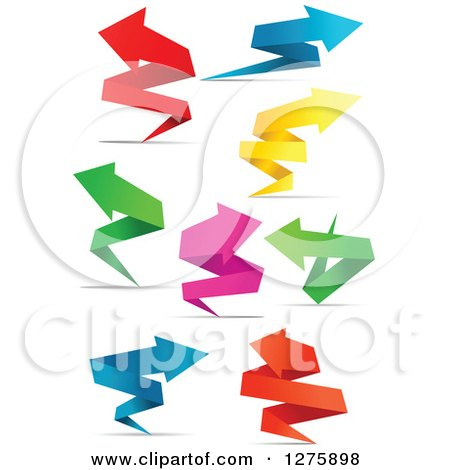 Clipart of Colorful Paper Arrows and Shadows - Royalty Free Vector Illustration by Vector Tradition SM
