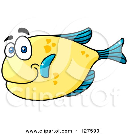 Clipart of a Happy Chubby Blue and Yellow Marine Fish - Royalty Free Vector Illustration by Vector Tradition SM
