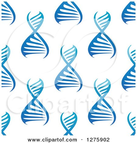 Clipart of a Seamless Gradient Blue DNA Background Pattern - Royalty Free Vector Illustration by Vector Tradition SM