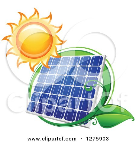 Clipart of a Shining Sun and Solar Panel Encircled with a Swoosh and Green Leaves 2 - Royalty Free Vector Illustration by Vector Tradition SM
