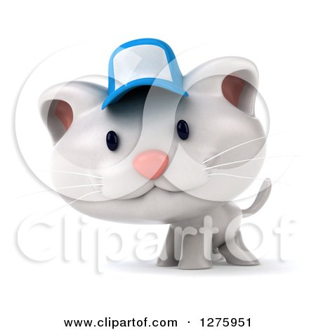 Clipart of a 3d White Kitten Wearing a Blue Cap - Royalty Free Illustration by Julos