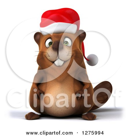 Clipart of a 3d Christmas Beaver - Royalty Free Illustration by Julos