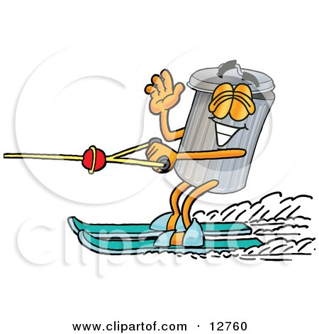 Clipart Picture of a Garbage Can Mascot Cartoon Character Waving While Water Skiing by Toons4Biz