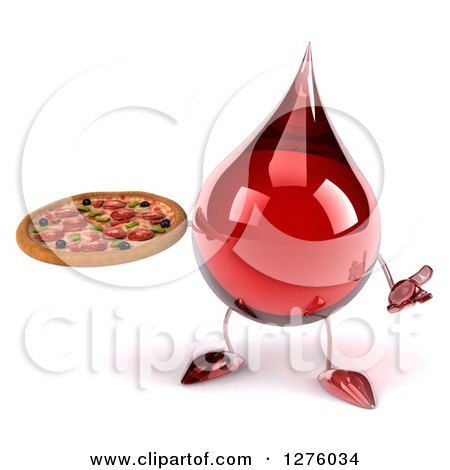 Clipart of a 3d Hot Water or Blood Drop Mascot Shrugging and Holding a Pizza - Royalty Free Illustration by Julos