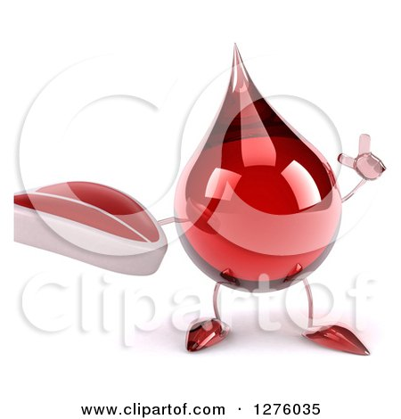 Clipart of a 3d Hot Water or Blood Drop Mascot Holding up a Finger and a Steak - Royalty Free Illustration by Julos