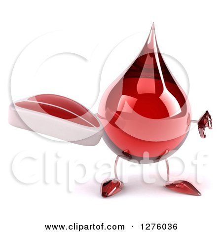 Clipart of a 3d Hot Water or Blood Drop Mascot Holding a Thumb down and a Steak - Royalty Free Illustration by Julos