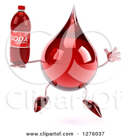 Clipart of a 3d Hot Water or Blood Drop Mascot Jumping with a Soda Bottle - Royalty Free Illustration by Julos