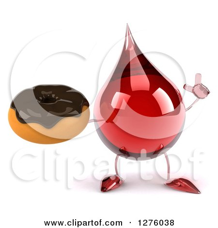 Clipart of a 3d Hot Water or Blood Drop Mascot Holding up a Finger and a Chocolate Frosted Donut - Royalty Free Illustration by Julos
