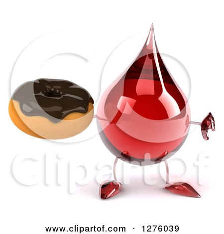 Clipart of a 3d Hot Water or Blood Drop Mascot Holding a Thumb down and a Chocolate Frosted Donut - Royalty Free Illustration by Julos