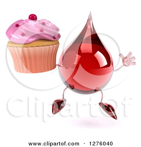 Clipart of a 3d Hot Water or Blood Drop Mascot Jumping with a Pink Frosted Cupcake - Royalty Free Illustration by Julos