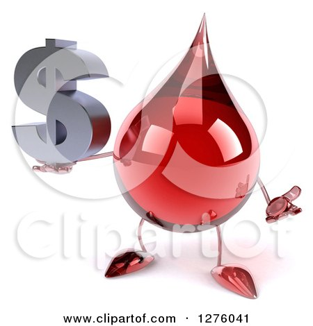 Clipart of a 3d Hot Water or Blood Drop Mascot Shrugging and Holding a Dollar Symbol - Royalty Free Illustration by Julos