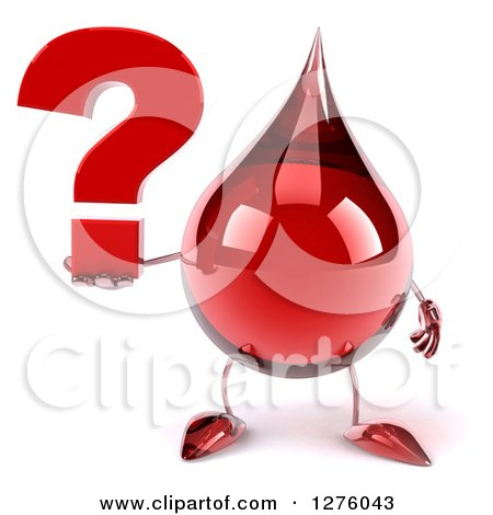 Clipart of a 3d Hot Water or Blood Drop Mascot Holding a Question Mark - Royalty Free Illustration by Julos
